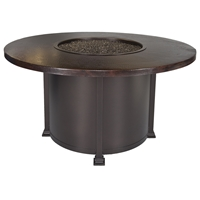 "OW Lee 54"" Round Dining Height Hammered Copper Fire Pit Table - 5130-54RDD"
