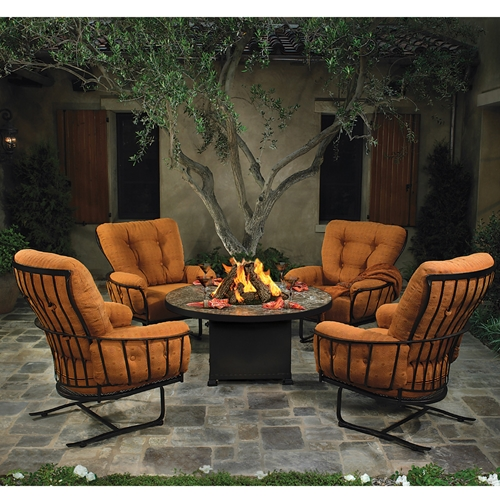 OW Lee Monterra Spring Base Club Chair Set with Fire Pit Table