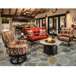 OW Lee Monterra Crescent Loveseat with Lounge Chairs and Fire Table Set