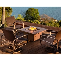 OW Lee Pacifica Sling Swivel Rocker Lounge Chairs with Capri Fire Table