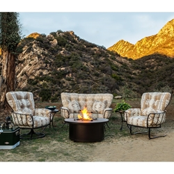 OW Lee Pendleton Monterra Crescent Love Seat with Lounge Chairs and Fire Pit Table - OW-PENDLETON-SET3