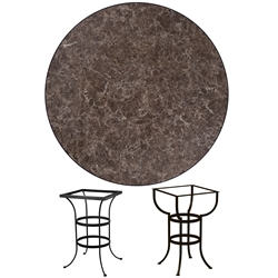 OW Lee 48 inch Round Porcelain Tile Top Bar Table - P-48-48U-BT03