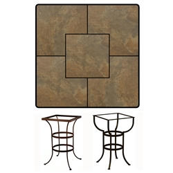 OW Lee 36 inch Square Porcelain Tile Top Counter Table - P3636SQ-CT03