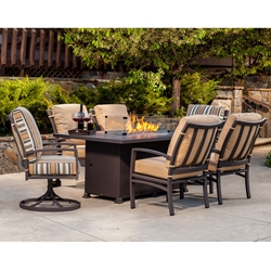 OW Lee Sol Dining Set with Santorini Fire Pit Table