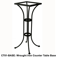 OW Lee Standard Wrought Iron Counter Height Bistro Table Base - CT01-BASE