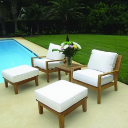 Royal Teak Coastal Teak Lounge Chair and Ottoman Set - RT-COASTAL-SET5