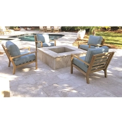 Royal Teak Coastal Teak Lounge Chair Outdoor Furniture Set for 4 - RT-COASTAL-SET7