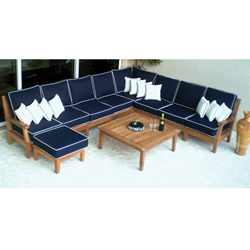 Royal Teak Miami Teak L-Sectional with Coffee Table - RT-MIAMI-SET9