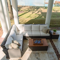 Royal Teak Sanibel Wicker Sectional Outdoor Furniture Set with Coffee Table - RT-SANIBEL-SET1
