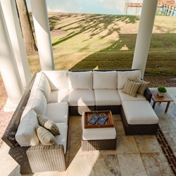 Royal Teak Sanibel Outdoor Wicker Sectional Furniture Set with Ottoman - RT-SANIBEL-SET2