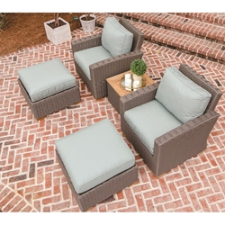 Royal Teak Sanibel Teak Deep Seating Club Chair and Ottoman Set - RT-SANIBEL-SET4