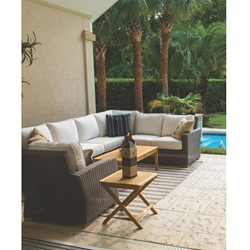 Royal Teak Sanibel Teak Sectional Outdoor Furniture Set with Coffee Table - RT-SANIBEL-SET6