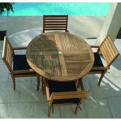 Royal Teak Avant Outdoor Round Dining Set for 4 - RT-AVANT-SET1