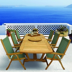 Royal Teak Florida Sling Outdoor Dining Set with Expansion Table and Lazy Susan - RT-FLORIDA-SET3