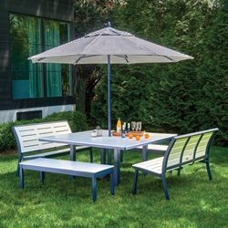 Telescope Casual Bazza Bench Dining Set with with Square Table and Umbrella - TC-BAZZA-SET10