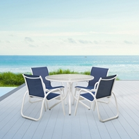 Telescope Casual Quick Ship Gardenella Dining Set in Gloss White and Cobalt Sling Fabric - SET00901