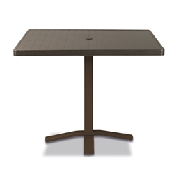 "Telescope Casual Aluminum Slat 36"" Square Balcony Height Table with Pedestal Base - 3180-TOP-3X20"