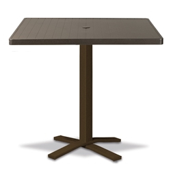 "Telescope Casual Aluminum Slat 36"" Square Bar Table with Pedestal Base - 3180-TOP-4X20"