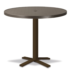 "Telescope Casual Aluminum Slat 36"" Round Bar Table with Pedestal Base - 3230-TOP-4X20"