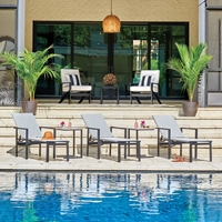 Telescope Casual Tribeca Sling Modern Pool Chaise Set of 3 with Side Tables - TC-TRIBECA-SET2