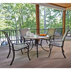 Telescope Casual Villa Sling Patio Dining Set with Werzalit Dining Table - TC-VILLA-SET10