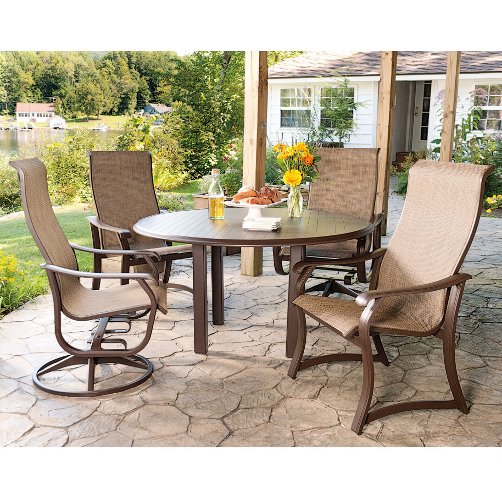 telescope casual villa sling high back 5 piece dining set tcvillaset8 - Telescope Casual