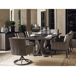 Tommy Bahama Blue Olive Outdoor Wicker Dining Set for 6 - TB-BLUEOLIVE-SET1