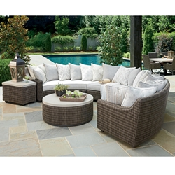 Tommy Bahama Cypress Point Curved Wicker Sectional Set with Scatterback Cushions - TB-CYPRESSPOINT-SET3