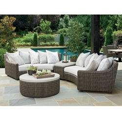 Tommy Bahama Cypress Point Curved Wicker Outdoor Sectional with Wedge Table - TB-CYPRESSPOINT-SET4
