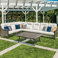 Tropitone Brazo Wicker Cushion Outdoor Sectional Set with Coffee Table - TT-BRAZO-SET5