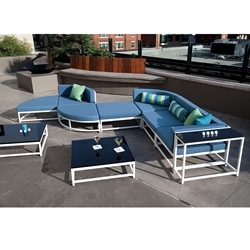 Tropitone Cabana Club Outdoor Sectional Set with two Coffee Tables - TT-CABANACLUB-SET2