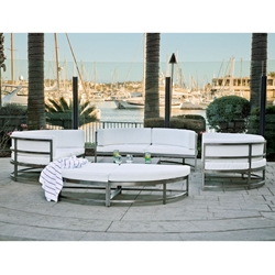 Tropitone Cabana Club Curved Corner Outdoor Furniture Set with Ottoman - TT-CABANACLUB-SET9