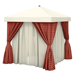 Tropitone 12 x 12 Square Cabana with Fabric Curtains and Sheer Curtain Rods - No Vent - NS012A238SH