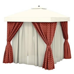 Tropitone 12 x 12 Square Cabana with Fabric Curtains and Sheer Curtain Rods - NS012A238VSH