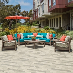Tropitone Evo Woven Outdoor Sectional Set with Coffee and Accent Tables - TT-EVO-SET1