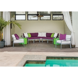 Tropitone Kor Cushion Outdoor Sectional and Lounge Chair Set with Curve Accessory Tables - TT-KOR-SET3