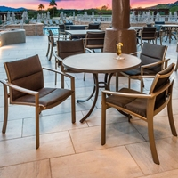 Tropitone Kor Padded Sling Outdoor Dining Set for 4 with Faux Granite Table Top - TT-KOR-SET12