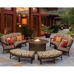 Tropitone Ravello Cushion Outdoor Crescent Furniture Set with Fire Pit - TT-RAVELLO-SET1