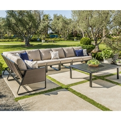 Tropitone Samba Woven Outdoor Sectional Furniture Set with Coffee Table - TT-SAMBA-SET5