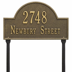 Whitehall Arch Marker Standard Lawn Address Plaque - Two Line