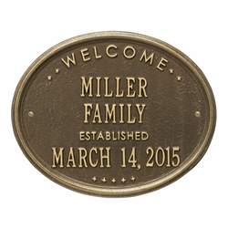 "Whitehall Welcome Oval ""Family"" Established Standard Wall Address Plaque - Two Line"