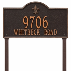 Whitehall Bayou Vista Estate Lawn Address Plaque - Two Line
