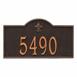 Whitehall Bayou Vista Estate Wall Address Plaque - One Line