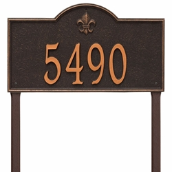 Whitehall Bayou Vista Estate Lawn Address Plaque - One Line