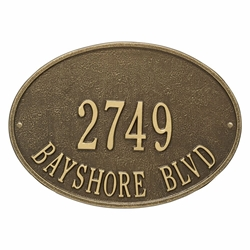 Whitehall Hawthorne Oval Standard Wall Address Plaque - Two Line