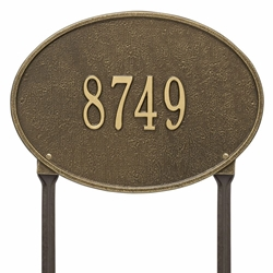 Whitehall Hawthorne Oval Standard Lawn Address Plaque - One Line