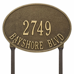 Whitehall Hawthorne Oval Standard Lawn Address Plaque - Two Line