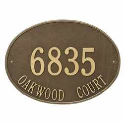 Whitehall Hawthorne Oval Estate Wall Address Plaque - Two Line