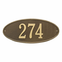 Whitehall Madison Oval Standard Wall Address Plaque - One Line