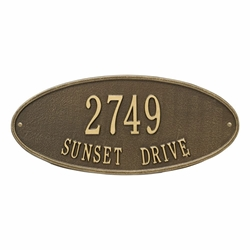 Whitehall Madison Oval Standard Wall Address Plaque - Two Line